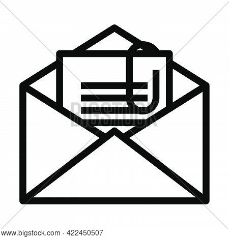 Mail With Attachment Icon. Editable Bold Outline Design. Vector Illustration.