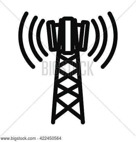 Cellular Broadcasting Antenna Icon. Editable Bold Outline Design. Vector Illustration.