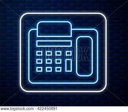 Glowing Neon Line Telephone Icon Isolated On Brick Wall Background. Landline Phone. Vector Illustrat