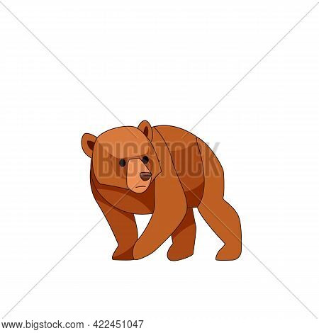Bear Cub Frightened. Cartoon Character Of Baby Mammal Animal. Wild Forest Creature With Brown Fur. V