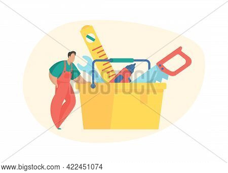 Basket With Tools Home Repair. Male Character In Uniform Selects Necessary Overhaul Equipment From T