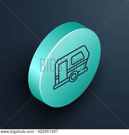 Isometric Line Rv Camping Trailer Icon Isolated On Black Background. Travel Mobile Home, Caravan, Ho