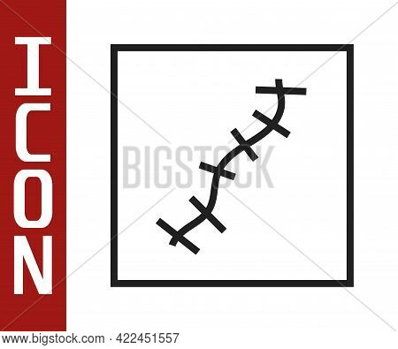 Black Line Scar With Suture Icon Isolated On White Background. Vector