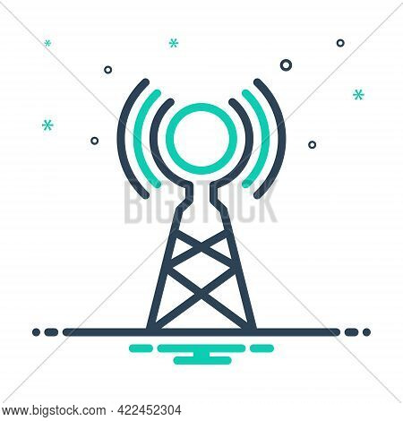 Mix Icon For Wireless-antenna Antenna Broadcast Digital Connection Network Transmission Tower Signal