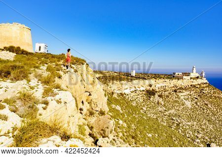 Tourist Woman Enjoy Coastal Spanish Landscape, Mesa Roldan Location In Province Almeria, Andalusia S