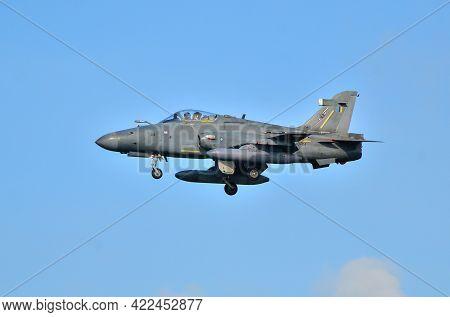 Labuan,malaysia-apr 24,2021:royal Malaysia Air Force Bae Hawk 208 Fighter Jet Plane Landing During T