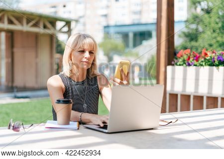 Adult Woman Having Video Call Chat With Laptop And Mobile Cell Phone Outside In Park. Happy Senior W