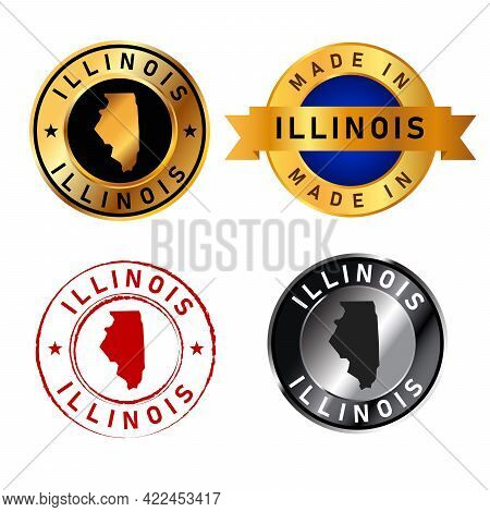 Illinois Badges Gold Stamp Rubber Band Circle With Map Shape Of Country States America