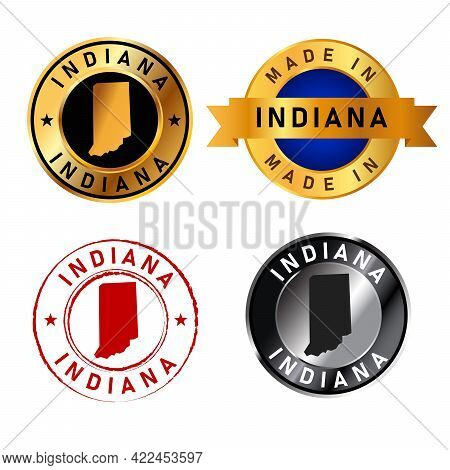 Indiana Badges Gold Stamp Rubber Band Circle With Map Shape Of Country States America