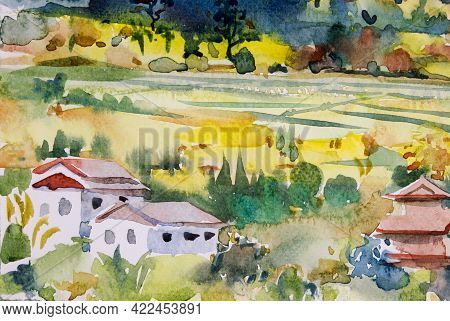 Abstract Watercolor Landscape Original Painting On Paper Colorful Of Village And Rice Field In Farm