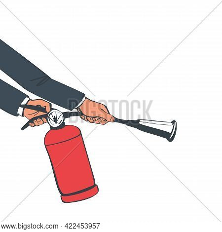 Extinguish Fire. Fireman Hold In Hand Fire Extinguisher. Vector Illustration Sketch Design. Isolated