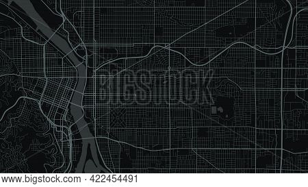Black And Dark Grey Portland City Area Vector Background Map, Streets And Water Cartography Illustra
