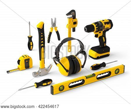 Isometric View Of Yellow Construction Tools For Repair On White