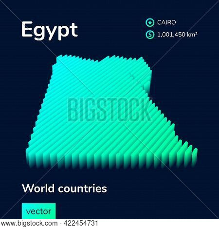 Stylized Striped Neon Isometric Vector  Egypt Map With 3d Effect. Poster, Banner, Map Of Egypt Is In