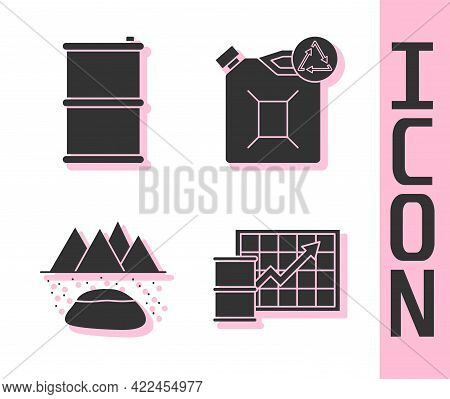 Set Oil Price Increase, Barrel Oil, Oilfield And Eco Fuel Canister Icon. Vector