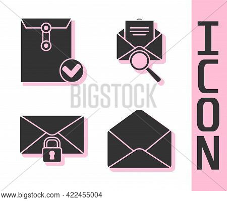 Set Envelope, Envelope And Check Mark, Mail Message Lock Password And Envelope With Magnifying Glass