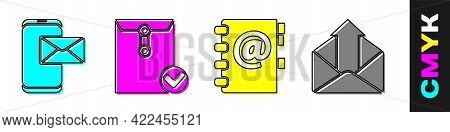 Set Mobile And Envelope, Envelope And Check Mark, Address Book And Outgoing Mail Icon. Vector