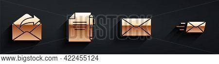 Set Outgoing Mail, Document And Pen, Envelope And Express Envelope Icon With Long Shadow. Vector