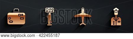 Set Suitcase, Aircraft Steering Helm, Plane And Pilot Icon With Long Shadow. Vector
