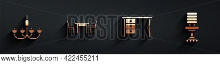 Set Chandelier, Wooden Table With Chair, Office Desk And Office Chair Icon With Long Shadow. Vector