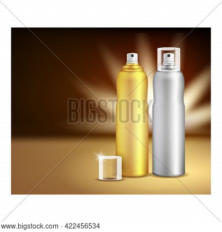 Hairspray Sprayer Creative Promotion Poster Vector. Hairspray Blank Bottles And Cap On Advertising B