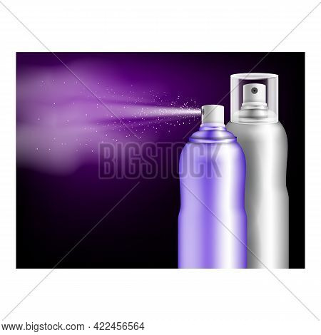 Hairspray Hairdo Creative Promotion Poster Vector. Perfect Fixation Hairspray Blank Bottles Sprayers