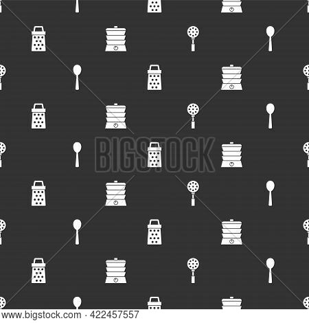 Set Spatula, Spoon, Grater And Slow Cooker On Seamless Pattern. Vector