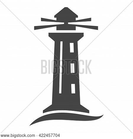 Monochrome Simple Lighthouse Icon Vector Illustration. Beacon Lighting Over Sea Waves Isolated