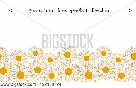 Seamless Horizontal Daisy Border With Bronze Outline Isolated On White Background. Decorative Vector