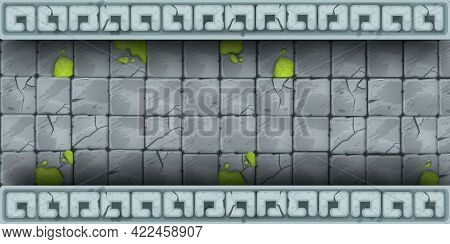 Ancient Stone Wall, Cracked Rock Vector Texture, Brick Temple Background Tiles, Street Cobblestone B