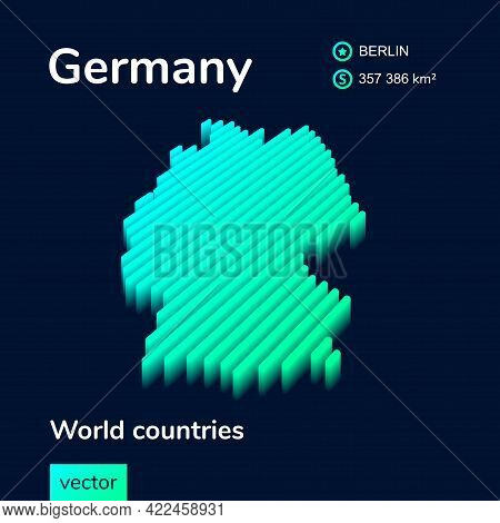 Stylized Striped  Neon Isometric Vector Germany Map  With 3d Effect. Map Of Germany Is In Green And