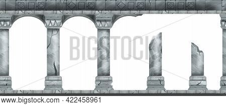 Stone Arch Vector Seamless Background, Ancient Greek Temple Column, Classic Palace Entrance Pillar.