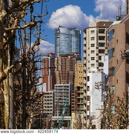 Tokyo, Japan - March 8: Tokyo Interesting Architectures. View Of Skyscraper And Highrise Cluster In