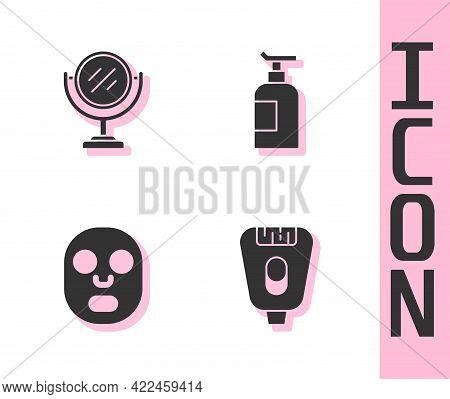 Set Epilator, Round Makeup Mirror, Facial Cosmetic Mask And Cream Lotion Tube Icon. Vector