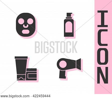 Set Hair Dryer, Facial Cosmetic Mask, Cream Or Lotion Tube And Spray Can For Hairspray Icon. Vector