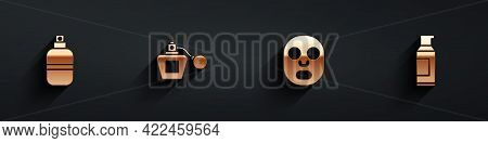 Set Perfume, , Facial Cosmetic Mask And Spray Can For Hairspray Icon With Long Shadow. Vector