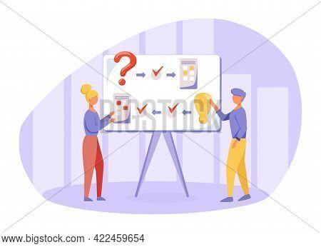 Brainstorming Flat Vector Illustration. Logical Thinking Principles. Presentation. People Discuss Pr