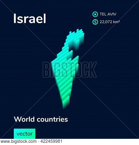 Stylized Striped  Vector Isometric 3d Map Of Israel. Map Of Israel Is In Neon Green And Mint Colors