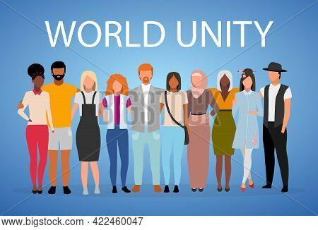 World Unity Poster Vector Template. International, Multinational Friendship, Cooperation. Brochure,