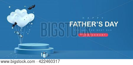 Happy Father's Day Card With Product Display Cylindrical Shape And Gift Box For Dad On Blue Backgrou