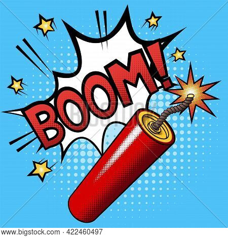 Firecracker Or Dynamite Stick With A Burning Fuse And Explosion With Text Boom. Halftone Vector Illu