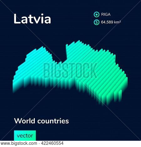 3d Vector Neon Isometric Latvia Map In Turquoise Colors On A Dark Blue Background. Stylized Map Icon
