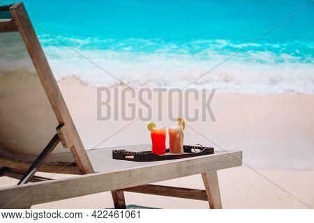 Fresh Fruit Juices On Tropical Sand Beach