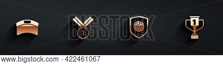 Set Sun Visor Cap, Medal Golf, Golf Ball With Shield And Award Cup Icon With Long Shadow. Vector