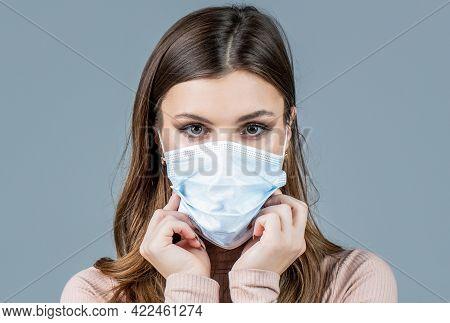 Woman Wearing An Anti Virus Protection Mask. Woman Wearing Medical Face Mask. Girl Wearing Protectiv