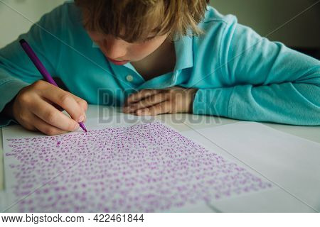 Kid Writing And Learning Numbers, Autism Or Asperger Syndrome, Mental Health