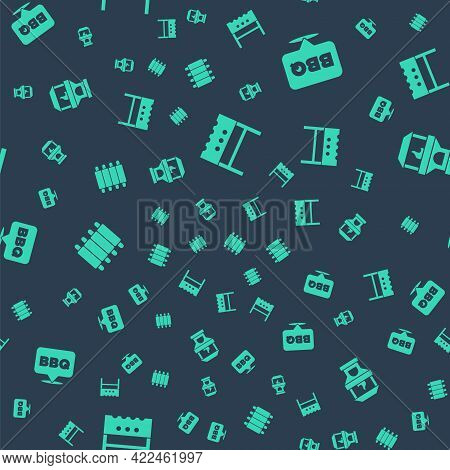 Set Bbq Brazier, Barbecue, Grilled Pork Bbq Ribs And Brick Stove On Seamless Pattern. Vector