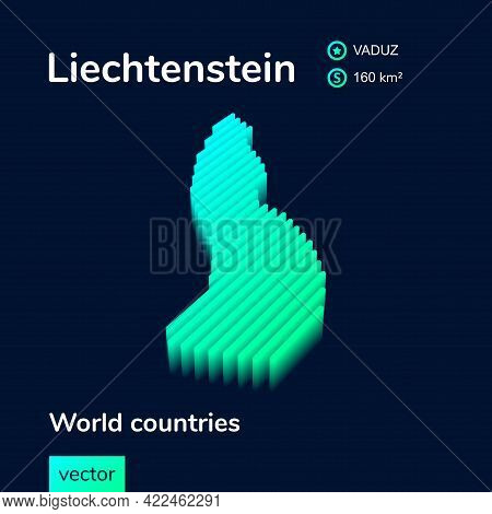 Isometric 3d Vector Liechtenstein Map In Neon  Turquoise Colors On A Dark Blue Background. Stylized