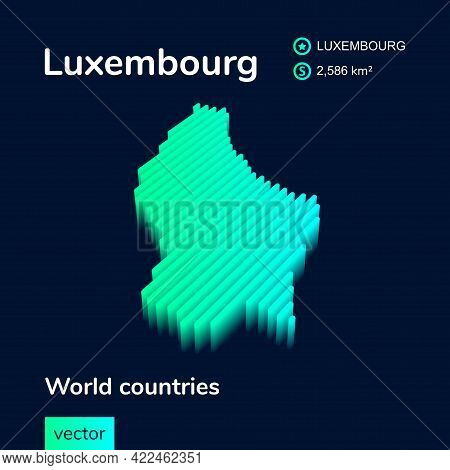 Stylized Striped Isometric Vector Map Of Luxembourg With 3d Effect. Map Of Luxembourg Is In Neon Gre