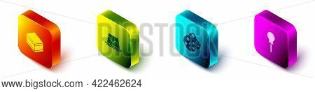 Set Isometric Brownie Chocolate Cake, Pudding Custard, Cookie Or Biscuit And Lollipop Icon. Vector